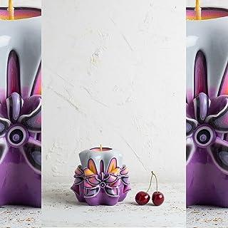 Idee Regalo Per Bambini E Bambini - Candela Decorata Viola Decorata - Specialità Fatta A Mano Di Natale - EveCandles