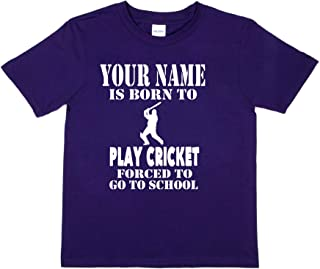 Print4u Personalised Your Name Born to Play Cricket T-Shirt