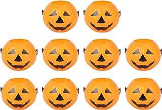 LUOEM 10pcs Halloween Pumpkin Candy Bucket Portable Pumpkin Bucket Children Trick or Treat Bags for Party Favors 3.4 x 2.6...