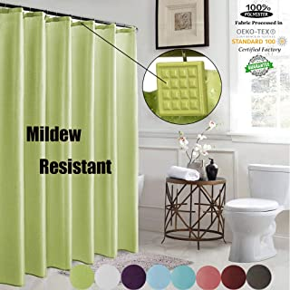 ROYACOR Fabric Shower Curtain with 12 Polyresin Hooks, Water-Repellent Rustproof Bath Curtain, 72x72 Non Toxic 100% Durable Polyester Shower Curtain Liner, Machine Washable,Easy to Install-Green