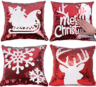 Royalbeier Christmas Pillow Cover Set 4 pcs Glitter Mermaid Pillowcase Xmas Red Magic Reversible Flip Sequins Throw Pillow Case Sofa Car Cushion Cover Home Decor (A-Red Sequin Cover)