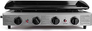 LIVOO DOC194 Fonte Émaillée | 4 Brûleurs INOX 10 KW | Barbecue Gaz, Plancha Extérieure, Grande Surface de Cuisson