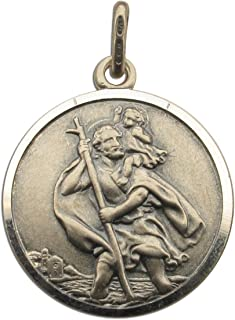 Mens Antique Finish Sterling Silver Mens 22mm Round St Christopher Medal Pendant In Gift Box