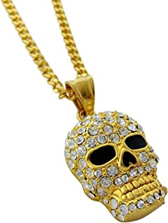Exo Jewel Gold Stainless Steel Skull Pendant Necklace with 24