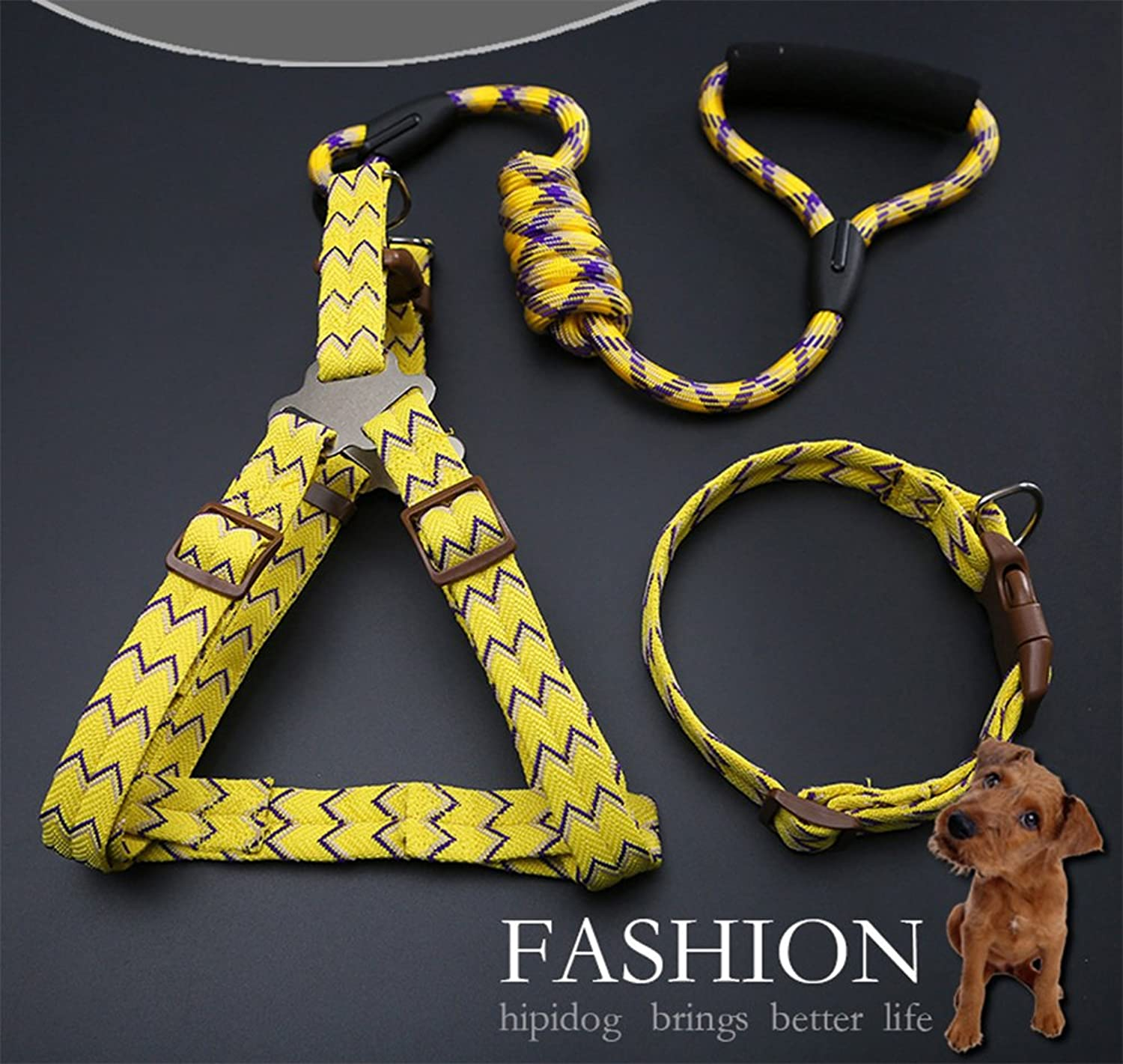 Bungee Double Dog Connector Lead, Twine Dog Belt and Shunt Walking Puppy Small Medium and Large Dogs (Yellow)