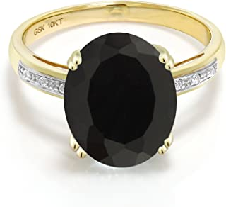 10K Yellow Gold Black Onyx and White Diamond Women's Engagement Ring (4.04 Cttw Oval Available in size 5, 6, 7, 8, 9)
