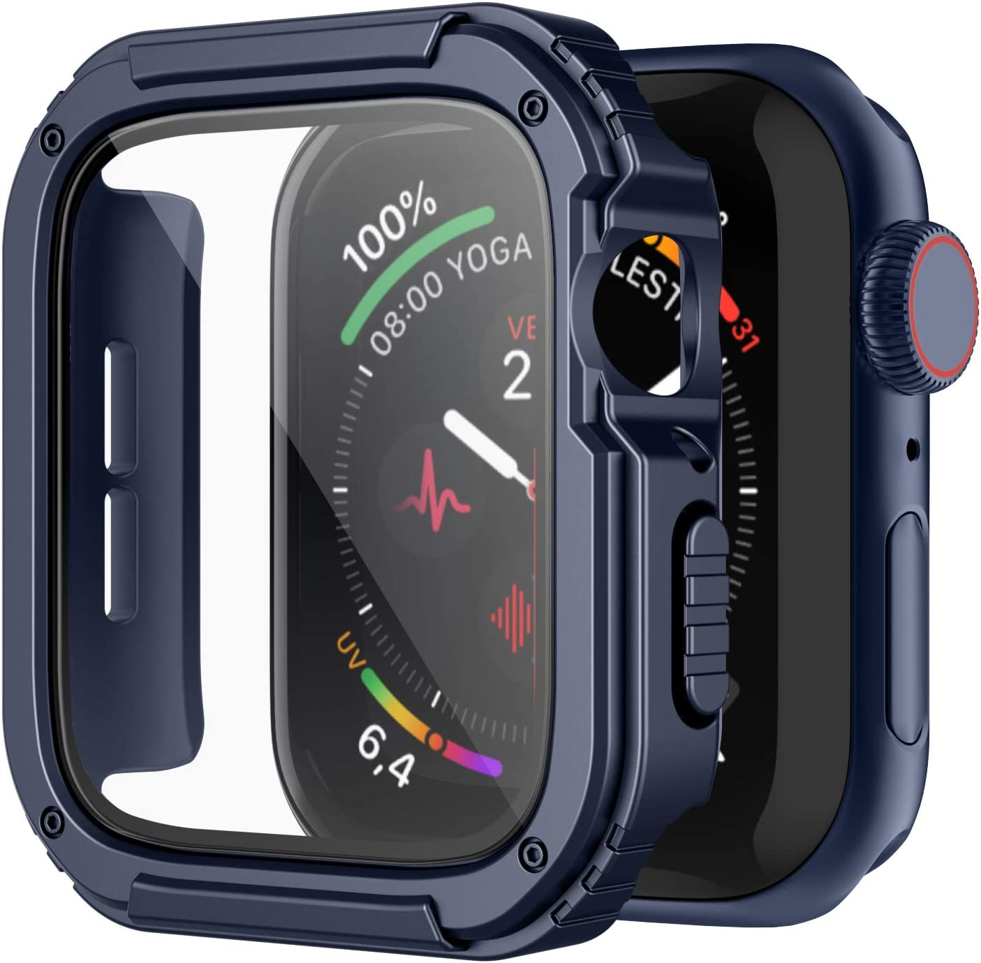 Recoppa Rugged Apple Watch Case 44mm Series SE 6/5/4 with Screen Protector, Durable Military Grade Quattro Pro Series Drop-Proof Protective Cover Full Coverage Shock-Proof Bumper for Men iWatch(Blue)