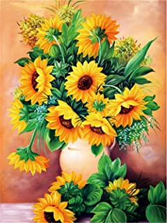 LeePakQ DIY 5D Diamond Painting Kits for Adults Full Drill Sunflower Diamond Painting Rhinestone Embroidery Pictures Cross Stitch Arts Crafts for Home Wall Decor,12×16 inches