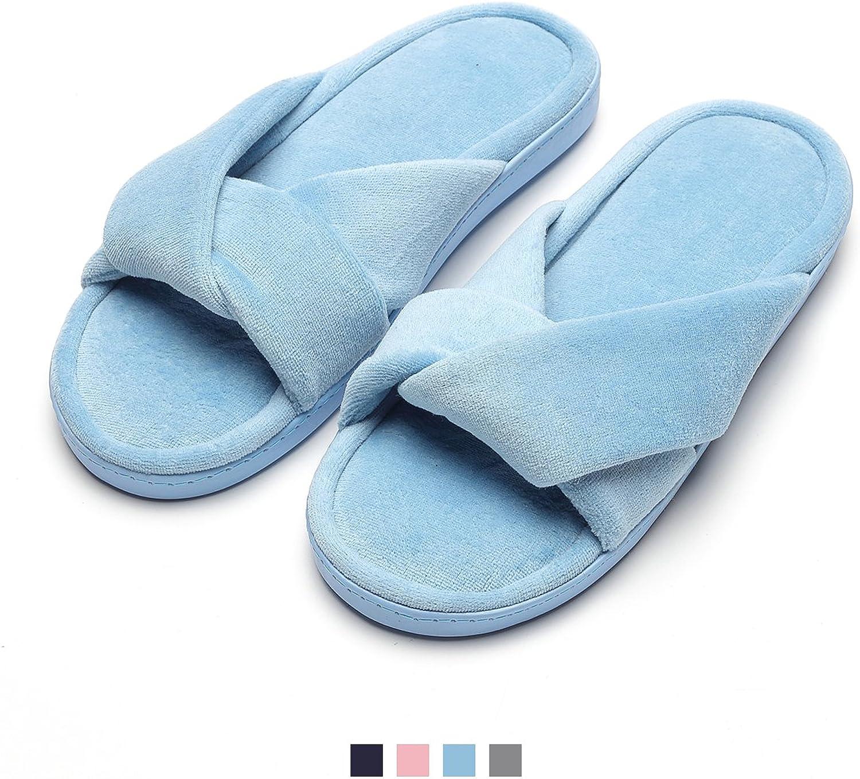 Women's Slippers Comfort Cozy Velvet Memory Foam Slippers for Spa Home Bedroom