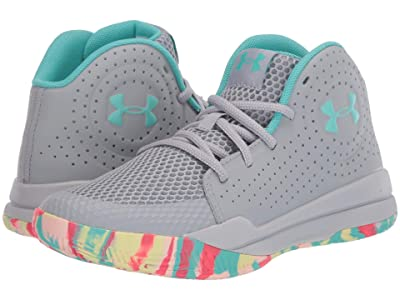 Under Armour Kids Jet 2019 (Big Kid) (Mod Gray/Halo Gray/Radial/Turquoise) Kids Shoes