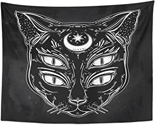 dff8ea47d Emvency Tapestry Black Cat Head Portrait with Moon and Four Eyes Eyed is  Ideal Halloween Tattoo