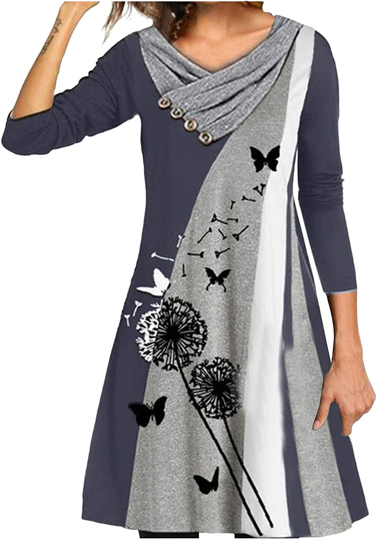 Long Sleeve Dress for Women Casual V Neck Floral Mini Swing Elegant Dresses Sweater Pullovers Dress