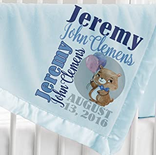 Kids-Pillowcases-By-Stockingfactory Personalized Baby Blanket (Light Blue - Personalized) Super Soft Micro Plush Fleece with Satin Trim with Name Elephant Giraffe Cute Bear Panda Animal Designs