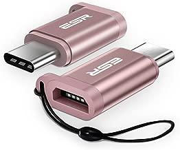 Adaptador USB C Macho a Micro USB [2 Unidades] Carga Rápida [OTG] con Cuerda Adaptador USB Tipo C de Aluminio Resistencia 56 Ohm