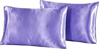 Pillowcases, 2 Pack, Satin Silk Pillow Protectors Cover for Hair and Skin with Envelope Closure, Easy Care Breathable Stai...