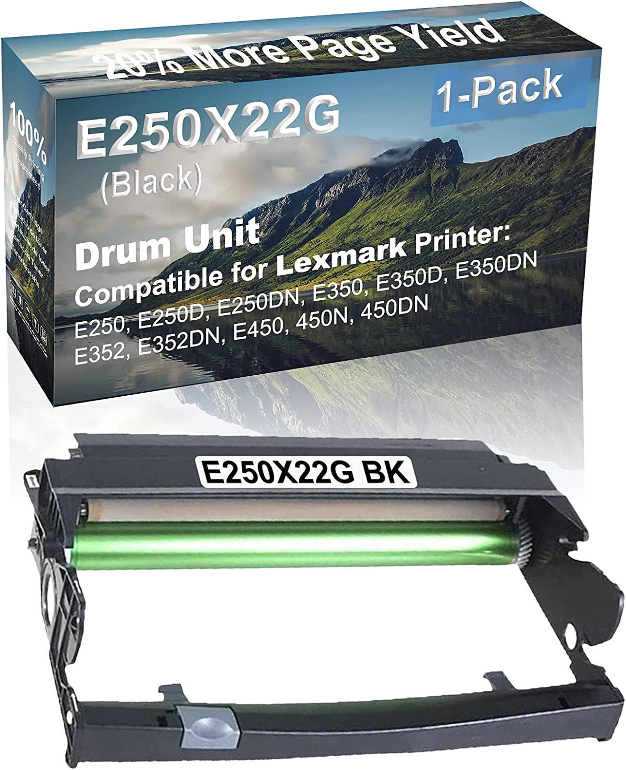 1-Pack Compatible Drum Unit (Black) Replacement for Lexmark E250X22G Drum Kit use for Lexmark E352DN, E450, 450N, 450DN Printer