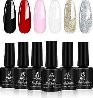 Beetles Gel Nail Polish Set,  Red Black Pink White Golden Silver Glitter Soak Off UV LED Gel Nail Kit,  7.3ml Each Bottle