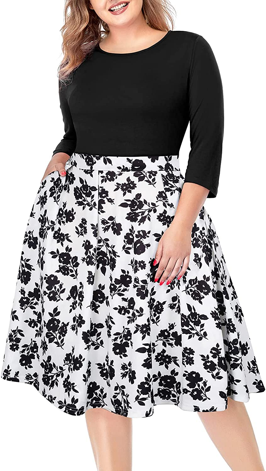 Women's Plus Size Floral Dresses Round Neck 3/4 Sleeve Fit and Flare Casual Dress with Pockets