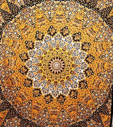 ROYALA Yellow Black Star Hippie Tapestry Hippy Mandala Bohemian Tapestries Indian Dorm Decor Psychedelic Tapestry Wall Hanging Ethnic Decorative