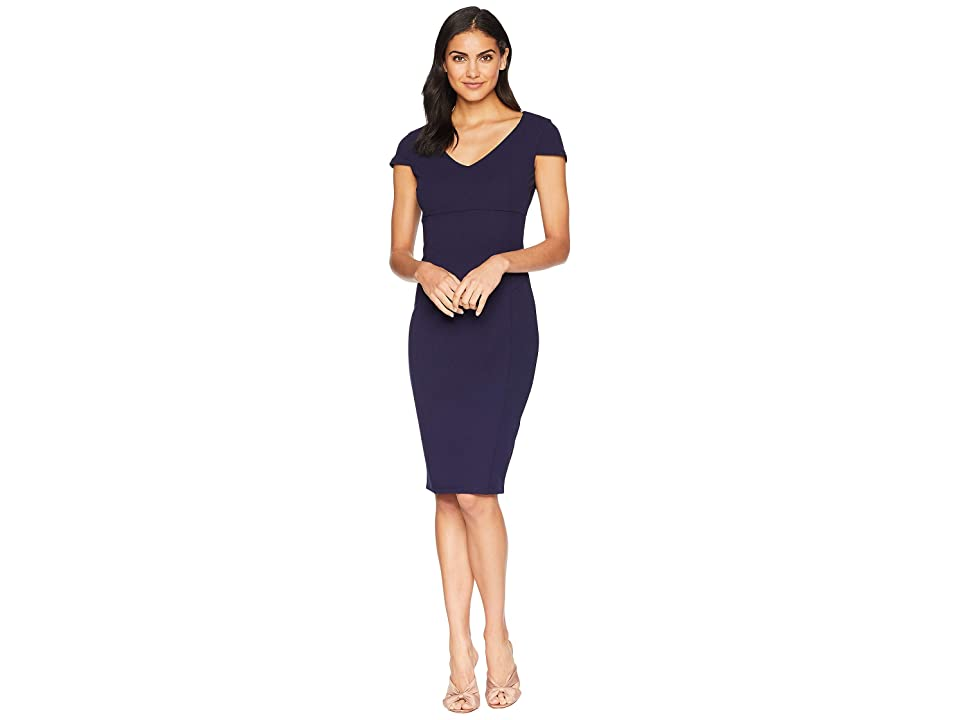 Bebe V-Neck Cap Sleeve Fit Midi Dress (Navy) Women