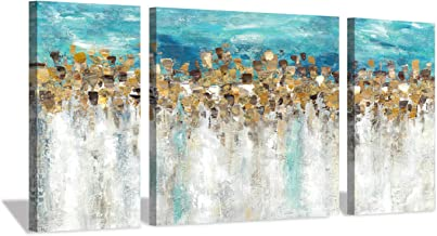 """Gold Foil Canvas Wall Art: Abstract and Modern Painting Blue and Gray Artwork for Living Room (12""""x24""""x2 Panels+24""""x24""""x1 ..."""