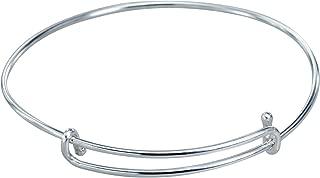 925 Sterling Silver Charm Expandable Bangle Bracelet 2.5