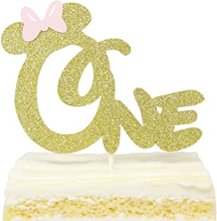 First 1st One Year Birthday Cake Topper - Gold Glitter Minnie Mouse Bow Birthday Cake Topper