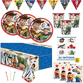 Toy Story 4 Theme Birthday Party Supplies Set - Serves 16 Guests - Includes Banner Decoration, Tablecover, Plates, Napkin,...