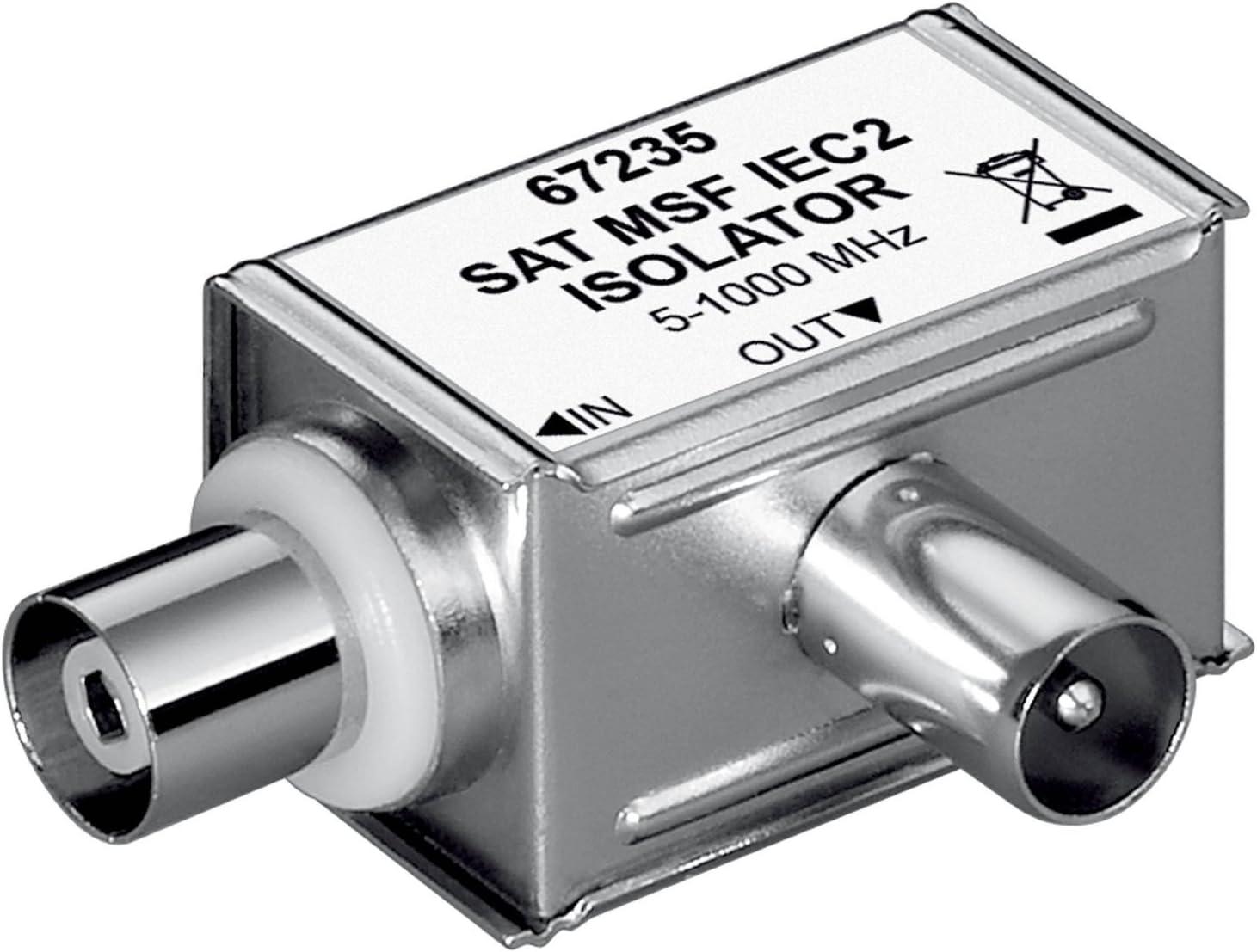Wentronic - Filtro de ferrita (conector coaxial a conector coaxial en ángulo, SAT MSF IEC 2 W) (importado)