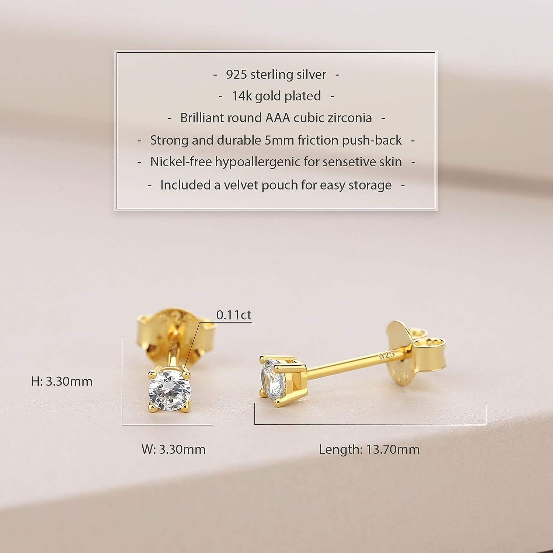 Spoil Cupid 14K Gold Plated 925 Sterling Silver Brilliant Cut Cubic Zirconia Stud Earrings for Women Men
