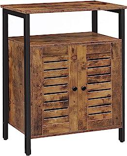 HOOBRO Storage Cabinet, Cupboard, Floor Standing Cabinet, Industrial Sideboard with Louvered Door and Adjustable Shelf for...