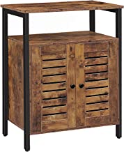 HOOBRO Bathroom Floor Storage Cabinet, Standing Cabinet, Industrial Cupboard with Hidden Adjustable Shelf and Door in Bedr...
