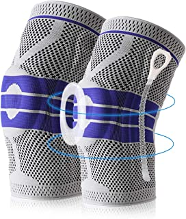 Knee Brace Compression Sleeve, Elastic Knee Wraps Patella Stabilizer with Silicone Gel Spring Support, Hinged Kneepads Pro...