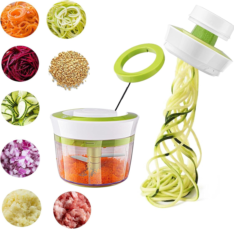 HOTERB Picadora Manual con Cuerda,Cortador de Verduras 4 en 1 Rallador de Verduras Espiralizador de Verduras para Espaguetis de Calabacín,Zanahorias,Picadora de Verduras para Carne,Cebolla,ajo