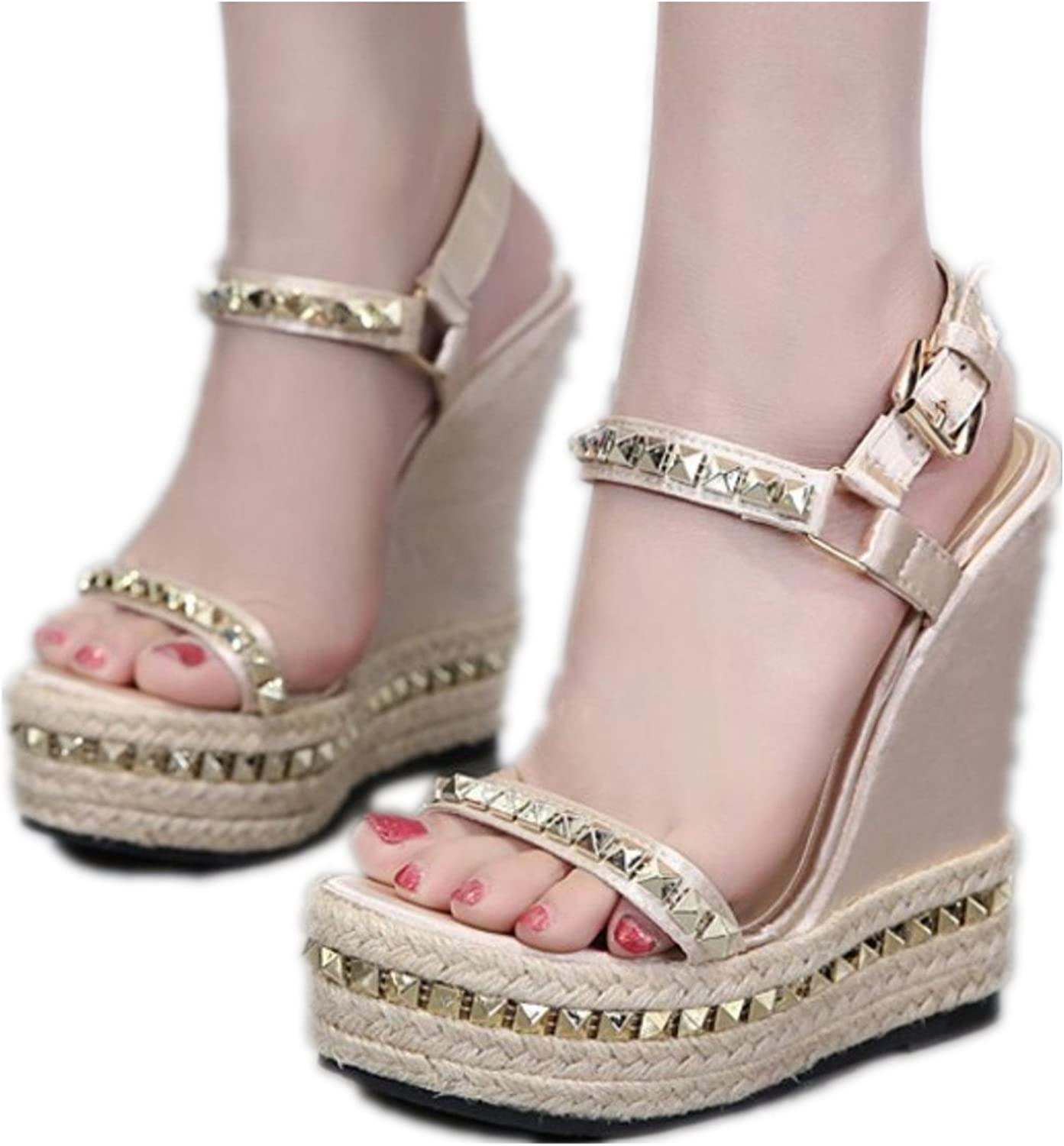 Women Ultra Very High Heels Bohemian Gladiator Sandals Rope Hemp shoes