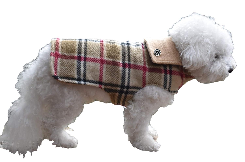Handmade Custom Tan Max 63% OFF Plaid Reversible Dog a COATS Jacket Unis for Time sale