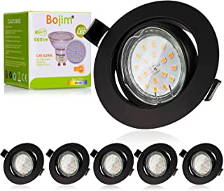Bojim Spot LED Encastrables Noir, 6x 6W GU10 Spot de plafond Blanc Chaud Rond Plafonnier Encastré 2800K 600lm Equivalente ...