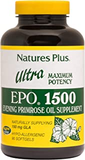 NaturesPlus Ultra EPO 1500-1500 mg Evening Primrose Oil, 90 Softgels - Hormone Balance Supplement, Promotes Healthy, Clear...