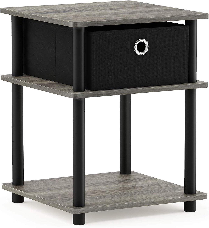 Furinno 18063GYW BK BK Turn-N-Tube End Tables, French Oak Grey Black, French Oak Grey Black Black