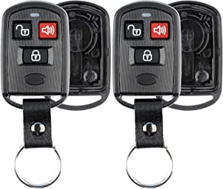 KeylessOption Keyless Entry Remote Key Fob Case Shell Button Pad Cover Leather Strap For Hyundai Kia (Pack of 2)