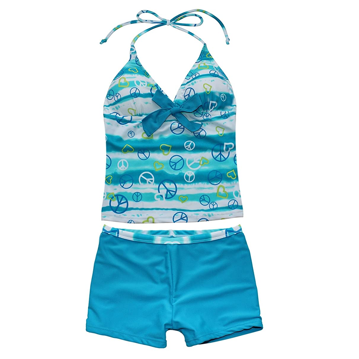 TiaoBug Girls Two-Piece Halter Tankini Swimsuit Bathers Swimmers Summer Beach Water Sports Separates Bathing Suit