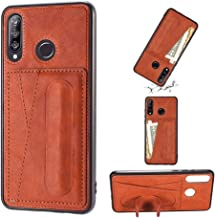 For Huawei Nova 4e Shockproof PC + PU Protective Case with Spring Holder & Card Slot Phone case Fashionable-suitable for gifts (Color : Brown)