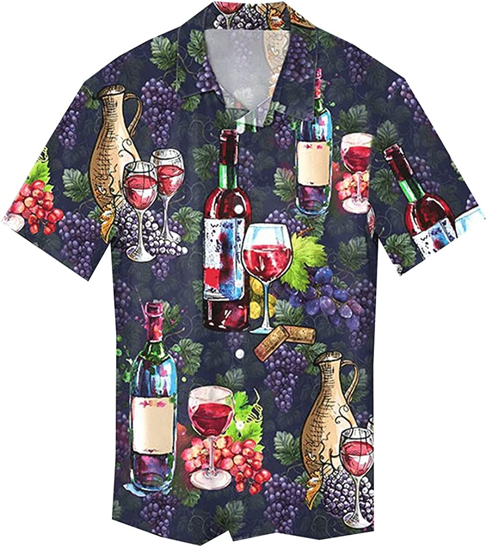 Tropical Wine Hawaiian Shirts for Men - Summer Beer Button Down Mens Hawaiian Shirts Short Sleeve Series 186