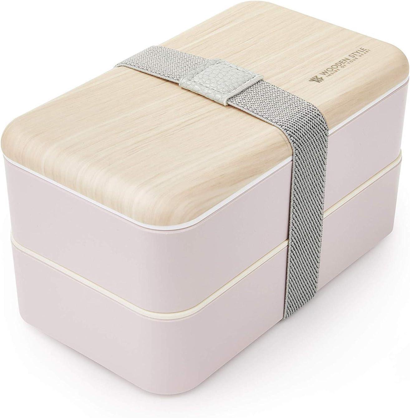 Bento Box Adultos o Ni/ños Bento Box 2 Compartimentos Estancos 1200 ml Thousanday Fiambrera Bento Bamb/ú Blanco Microondas y Lavavajillas Tupper Design con 2 Cubiertos