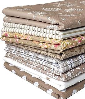 8枚入 生地 コーヒーシリーズ コットン 綿 柔らかい パッチワーク布地 8色セット 手芸用 56×46cm