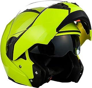 SOXON SF-99 Neon Yellow · Casco da motocicletta modulare Moto Cruiser Flip-Up Urbano Scooter Integrale Sport Modular-Helmet Urban · ECE certificado · dos viseras incluidas · incluyendo bolsa de casco · Amarillo · L (59-60cm)