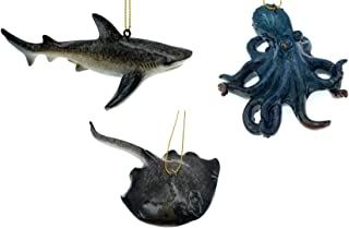 Globe Imports - Beach Life Christmas Ornaments Bundle - 1 Octopus 1 Shark and 1 Stingray Hanging Ornaments