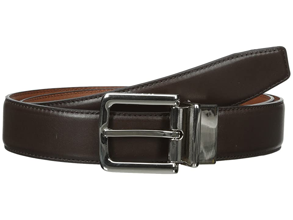 Cole Haan 32mm Feather Edge Stitched Reversible with Harness Buckle (Chocolate) Men