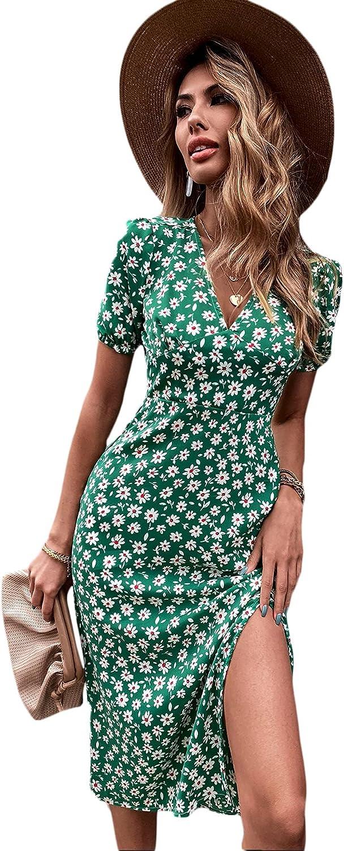 Floerns Women's Summer Floral Short Sleeve V Neck Split Thigh A Line Midi Dress