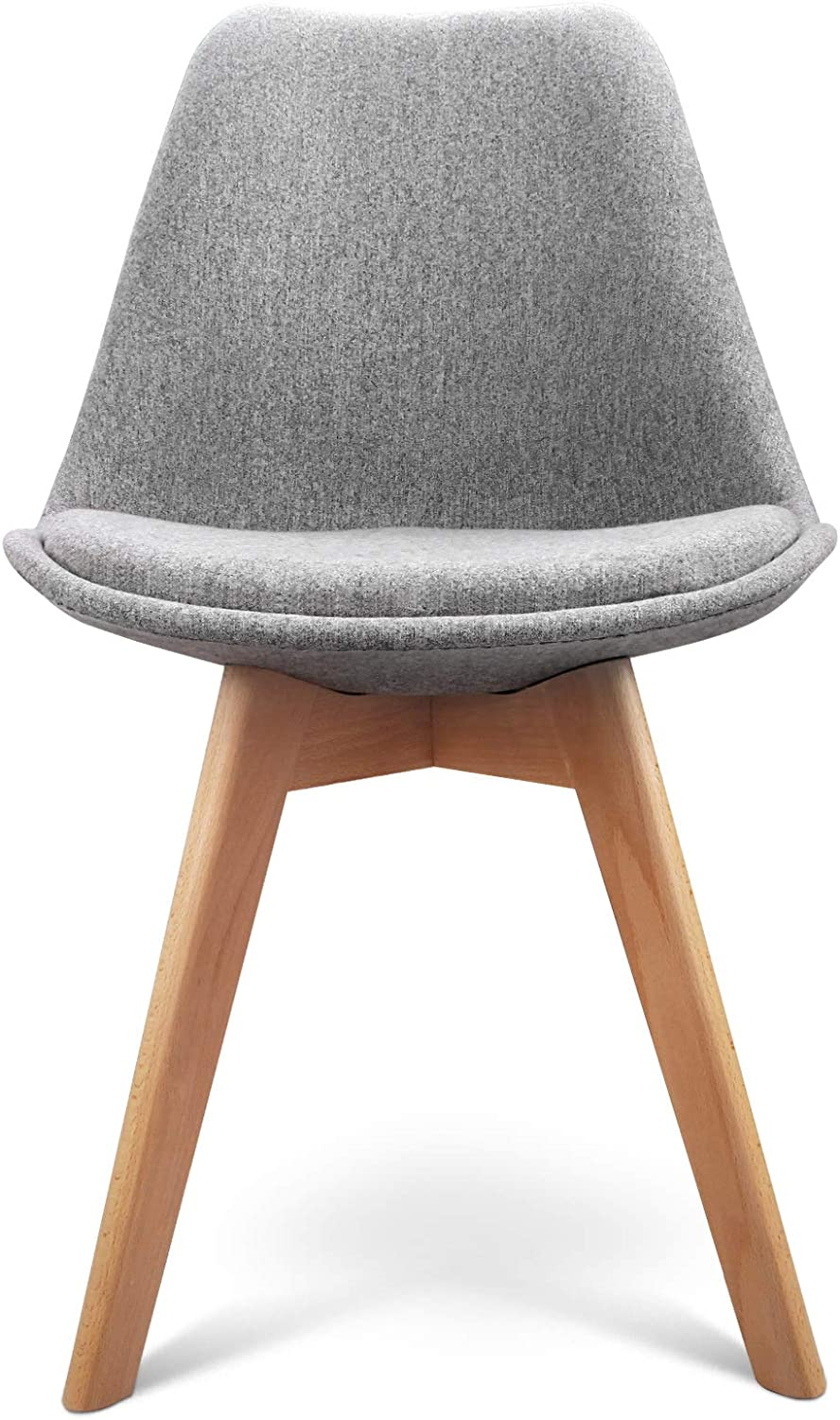 2 x Artiss Eames DSW Dining Chairs Wooden Fabric Upholstered Kitchen Chairs Grey
